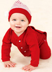 NEW Dark Red Drop Seat Style Monogrammable Baby Pajamas (HOC1211) and NEW Red Striped Santa's Elf Hat (HOC151)