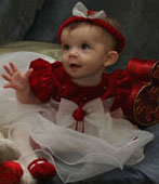 NEW Rare Editions Red Velvet Baby Dress with White Ruffled Organdy Skirt (HOC0712)