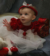 NEW Rare Editions Red Velvet Baby Dress with White Ruffled Organdy Skirt (HOC0712)